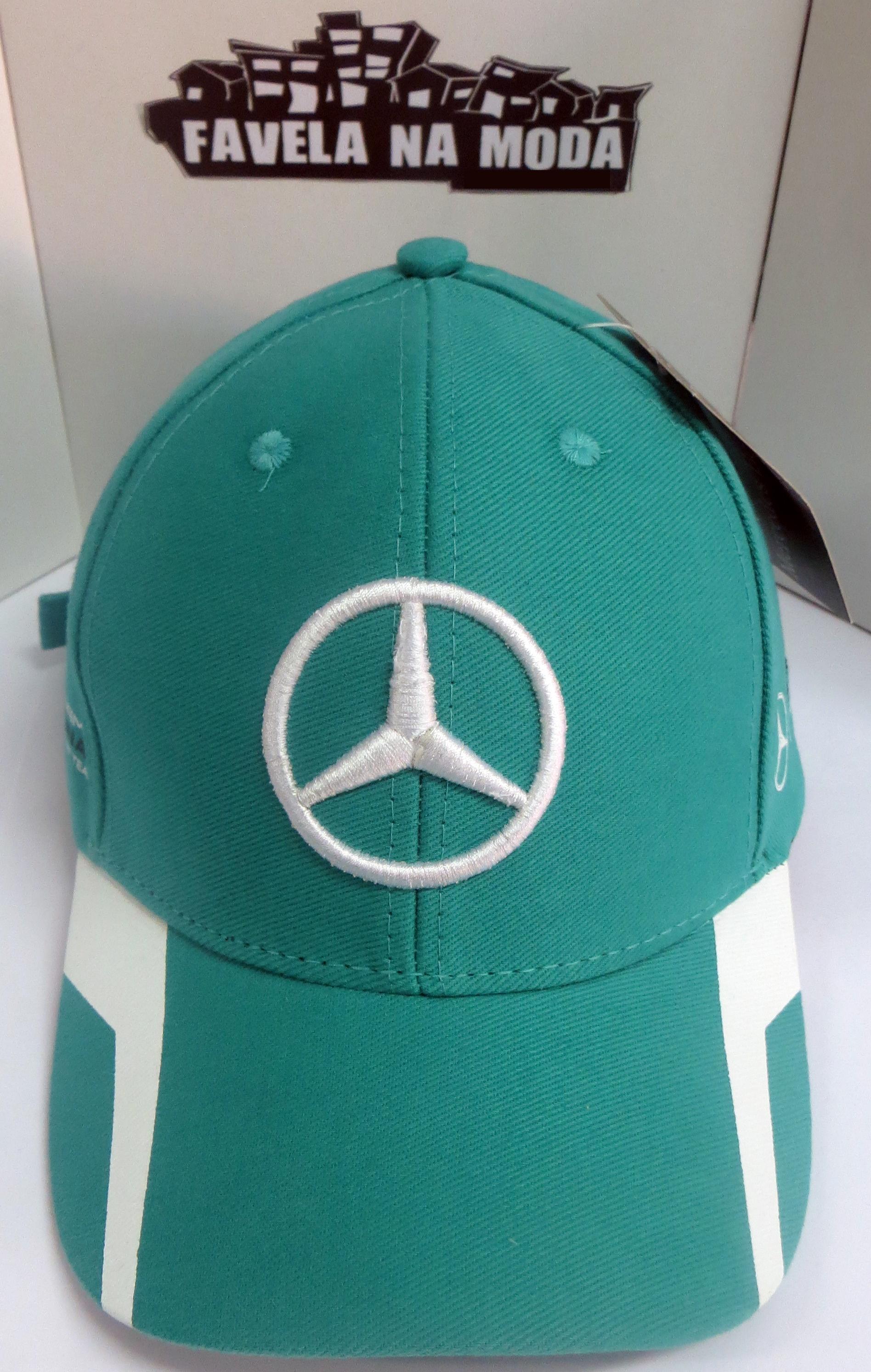 03e0db612bef2 Boné Mercedes-Benz AMG Petronas - Verde Água   Branco