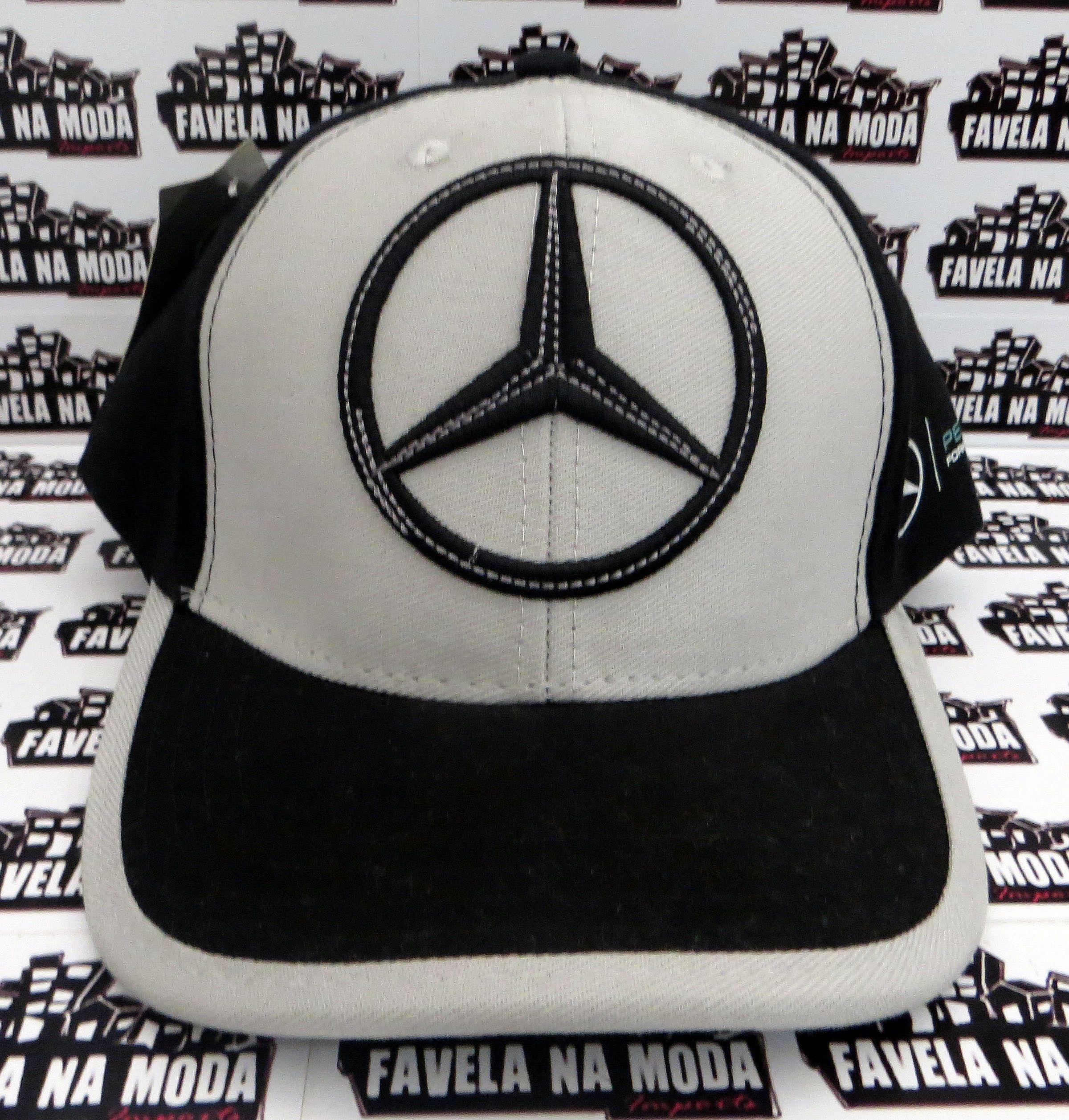 79aa9b0253282 Boné Mercedes-Benz F1    AMG Petronas - Preto   Cinza - Favela na Moda  Imports
