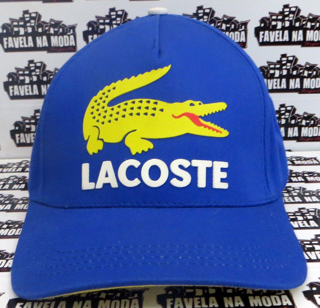d726900c45044 Boné Lacoste de Fivela - Azul   Jacaré amarelo