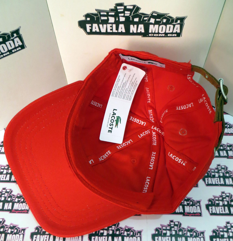 Boné Lacoste de Fivela de Couro - Vermelho - Big Croc - Favela na ... d055bbc20b