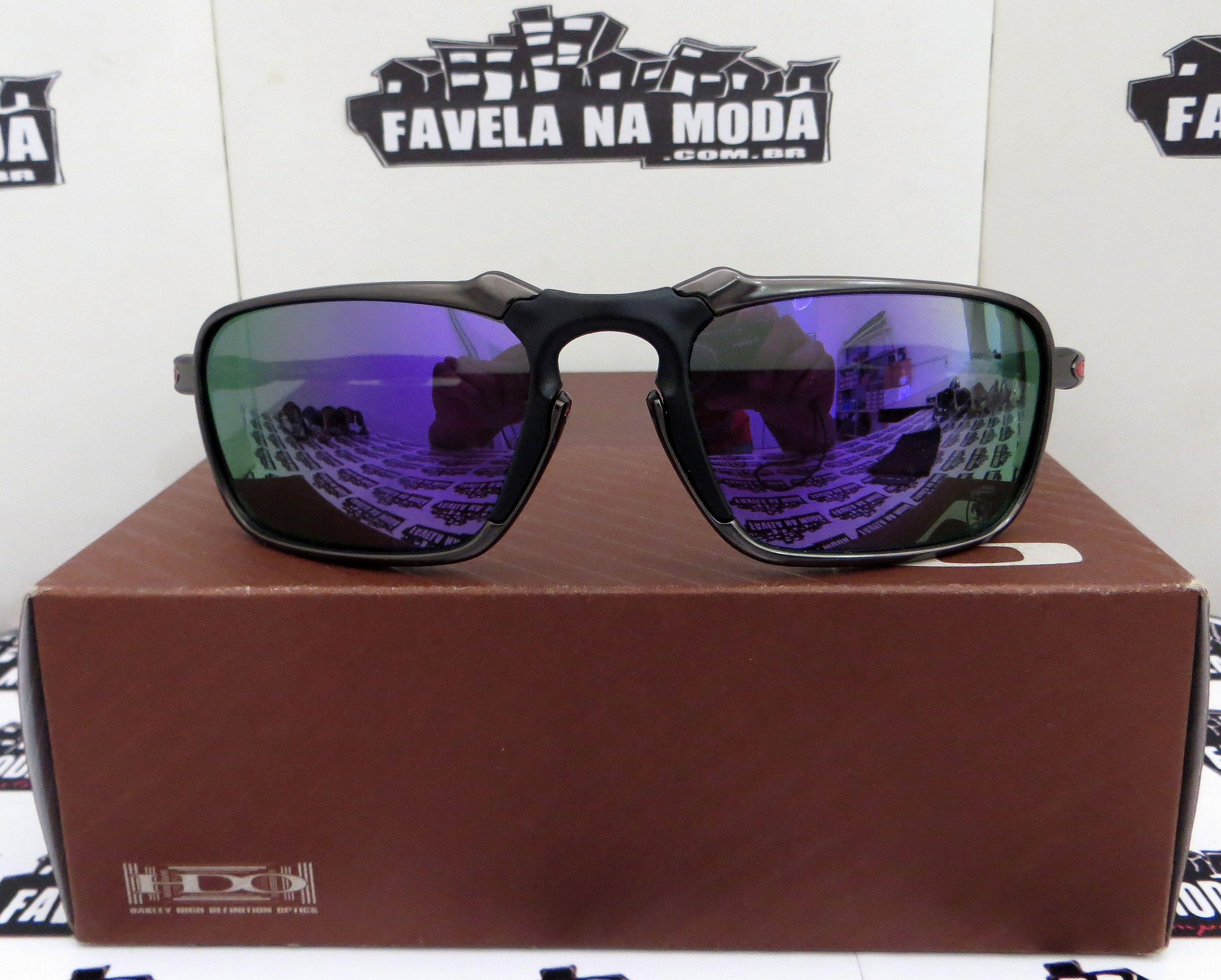 4531ca5e43740 Óculos Oakley Badman - Carbon - Violet - Borrachas Pretas