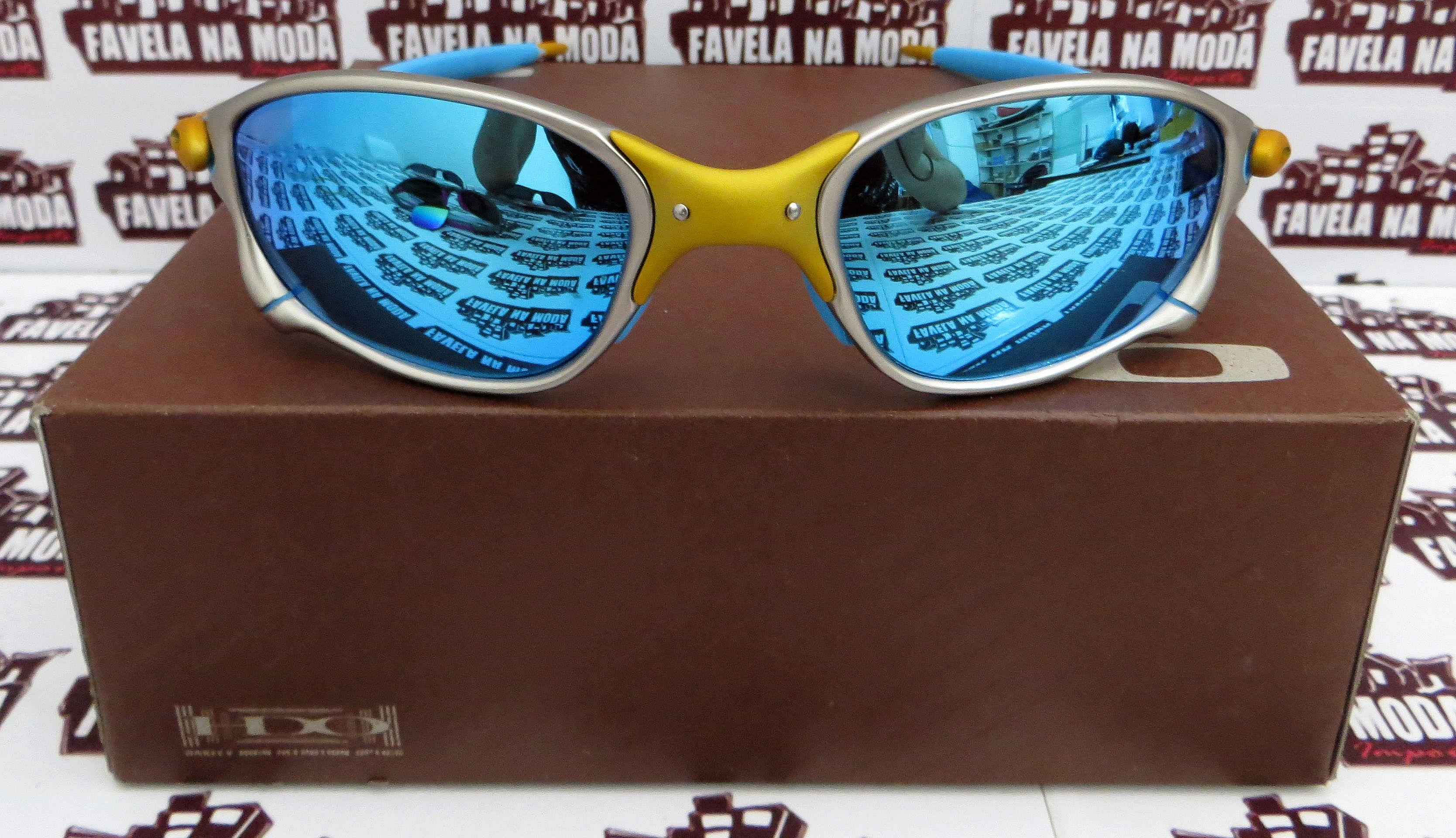 Óculos Oakley Double xx - 24k   Ice Thug   Borrachas Azul Bebê e23ee46b9c949