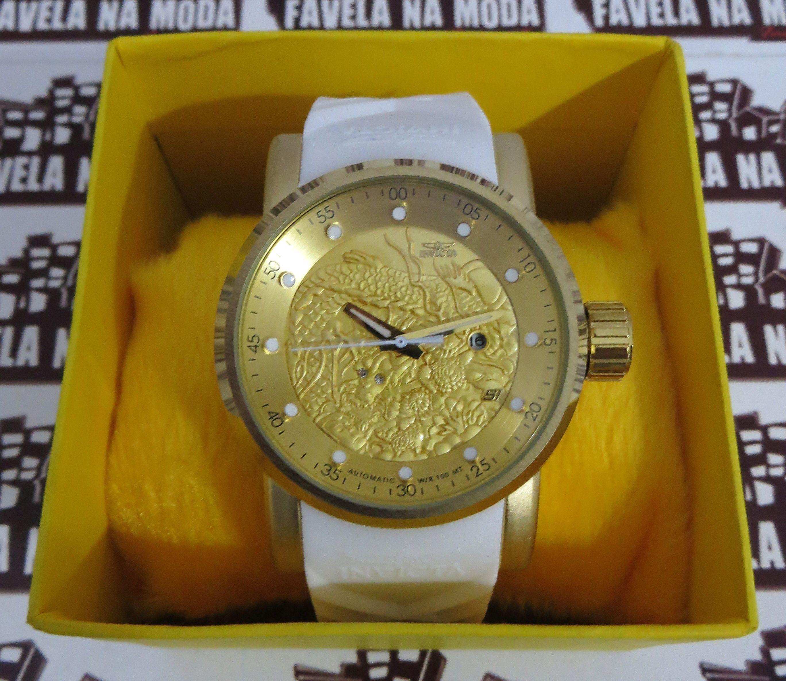 cc2f8aa1185 Relógio Invicta Yakuza Dragon S1- Branco   Dourado