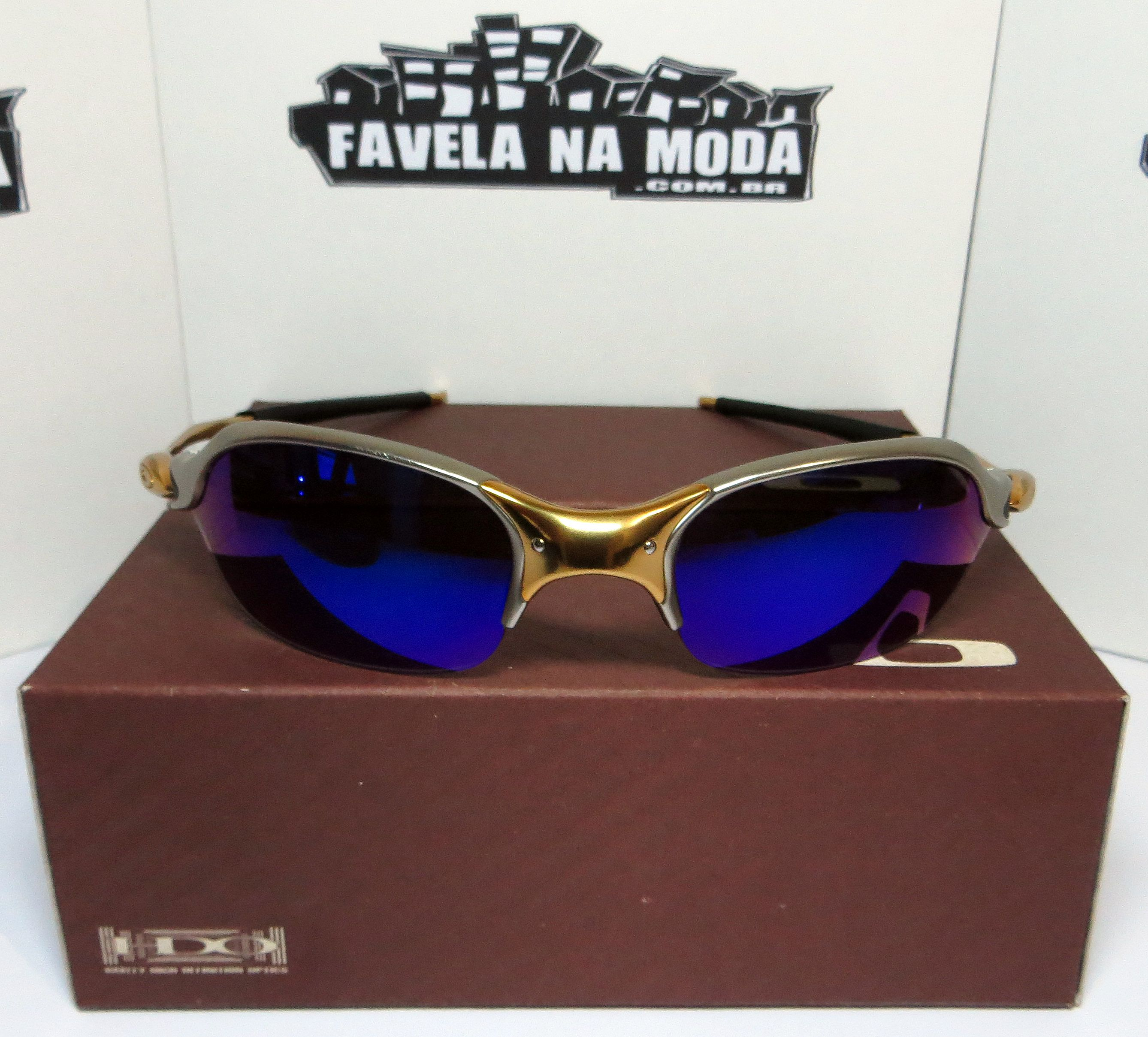 ad34d22fdfd92 Óculos Oakley Romeo 2 - 24k   Magic Blue   Borrachas Pretas