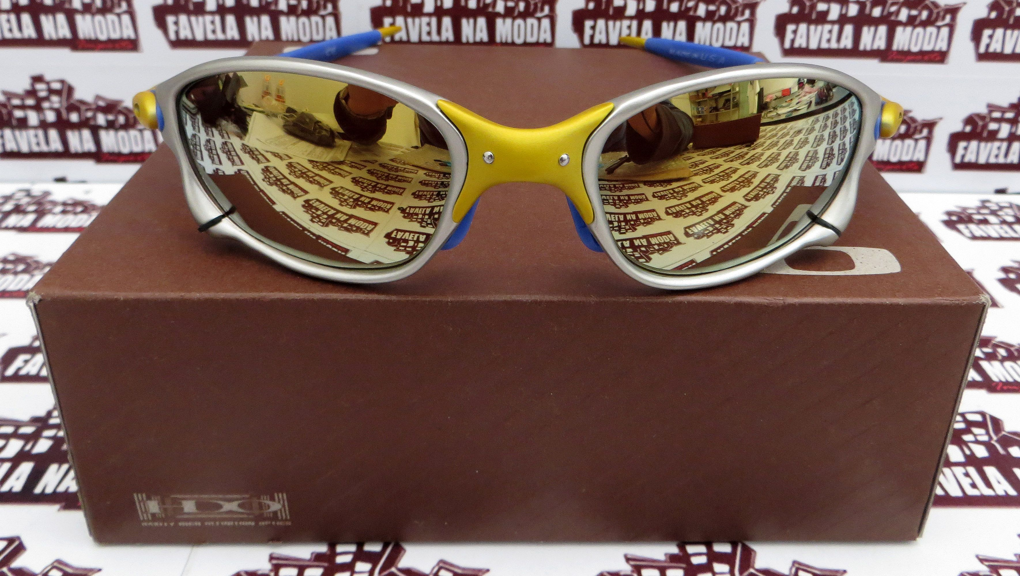 797867470f802 Óculos Oakley Double xx - 24k   Gold   Borrachas Azul Escuro