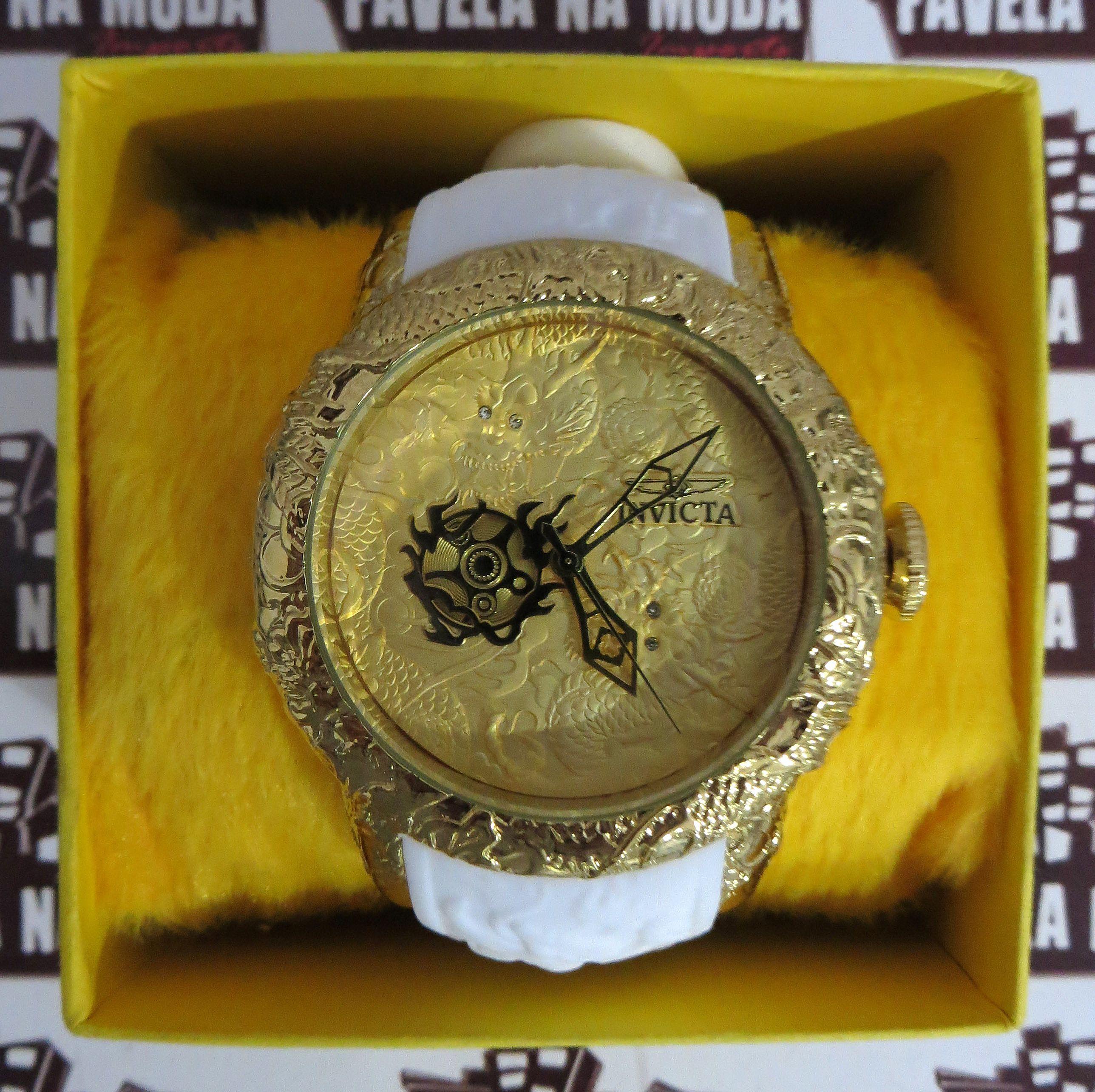 189d2e56c7c Relógio Invicta Yakuza Dragon S2 - Branco   Dourado