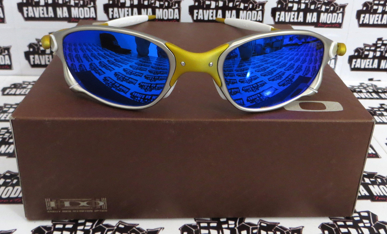 d1708fc69df44 Óculos Oakley Double xx - 24k   Blue neon   Borrachas Brancas