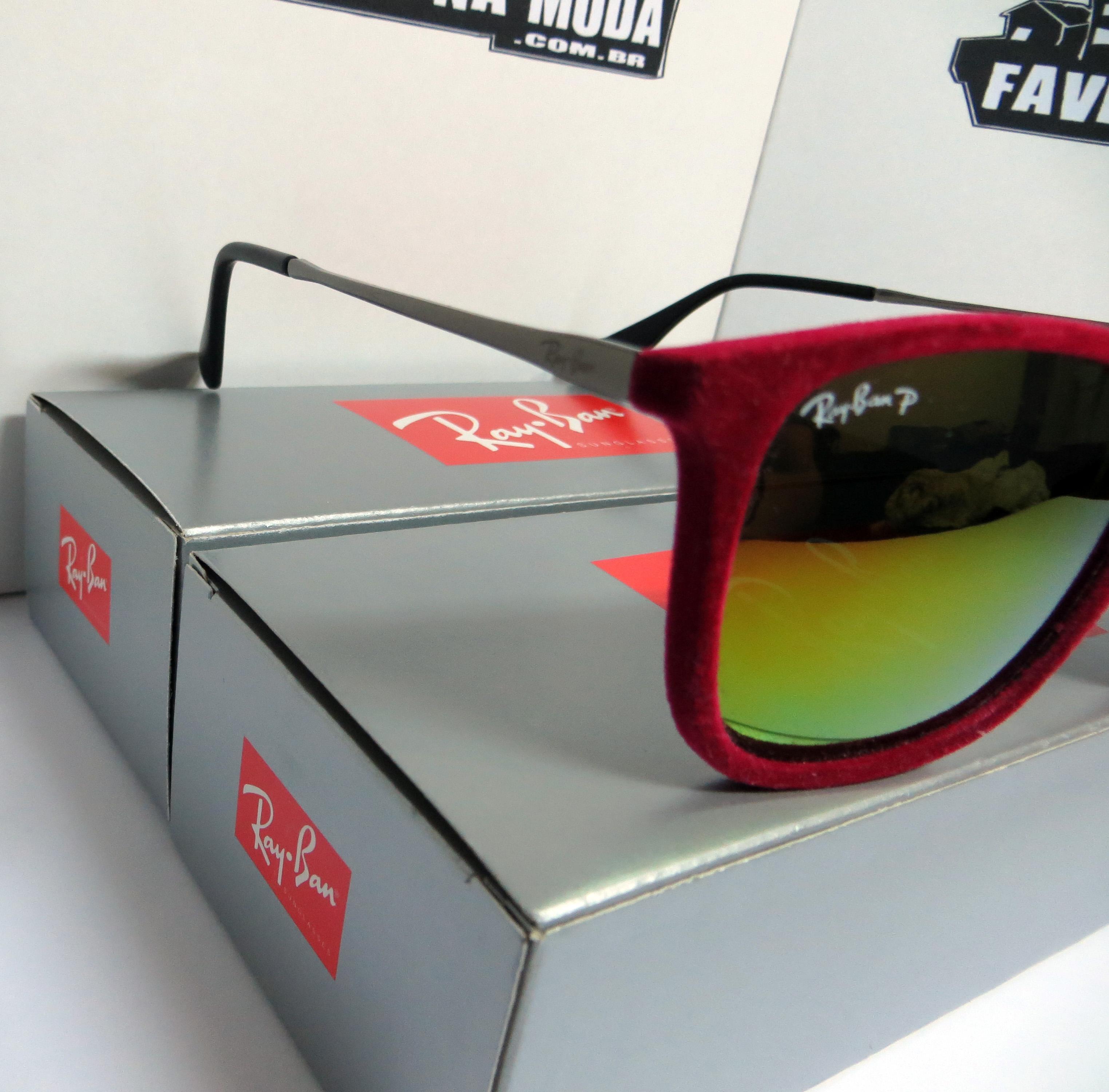 Óculos Ray Ban Erika Velvet de Veludo - Vermelho   Vermelho ... 9371dac7a9
