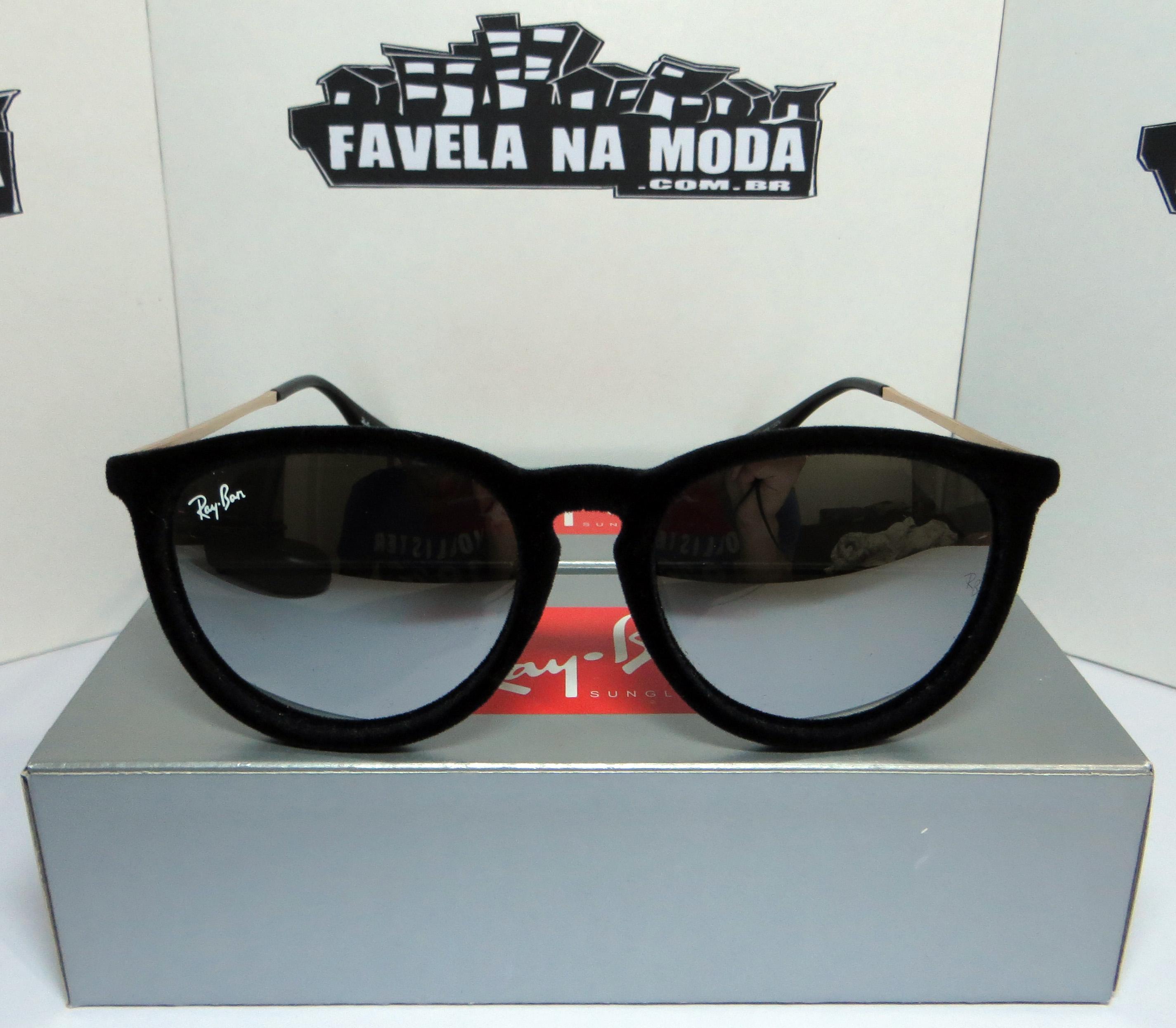 e7da08d2c4 Óculos Ray Ban Erika Velvet de Veludo - Preto   Preto Espelhado