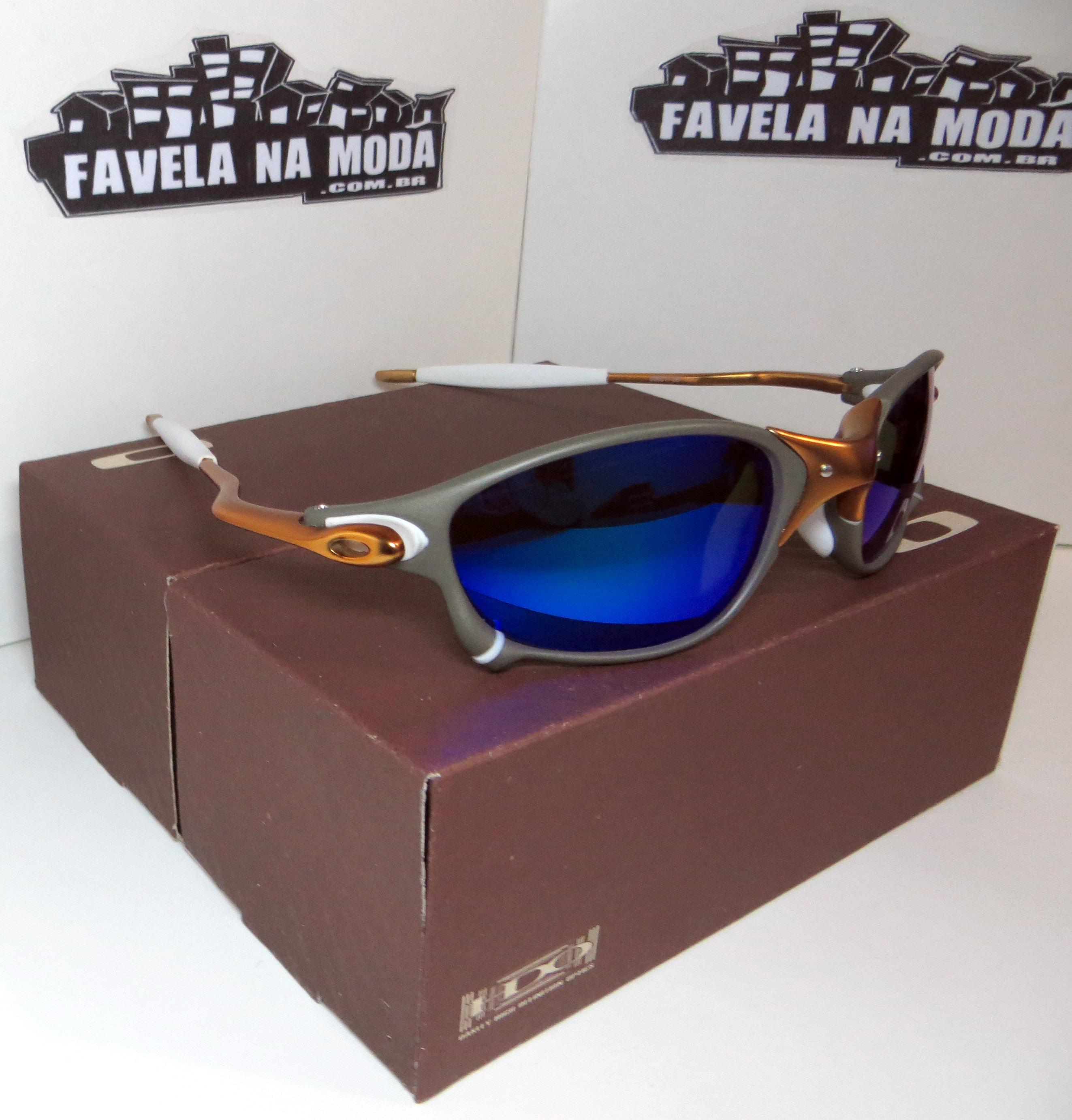 a09a94207beef Óculos Oakley Double xx - 24k   Blue Neon   Borrachinhas Brancas ...
