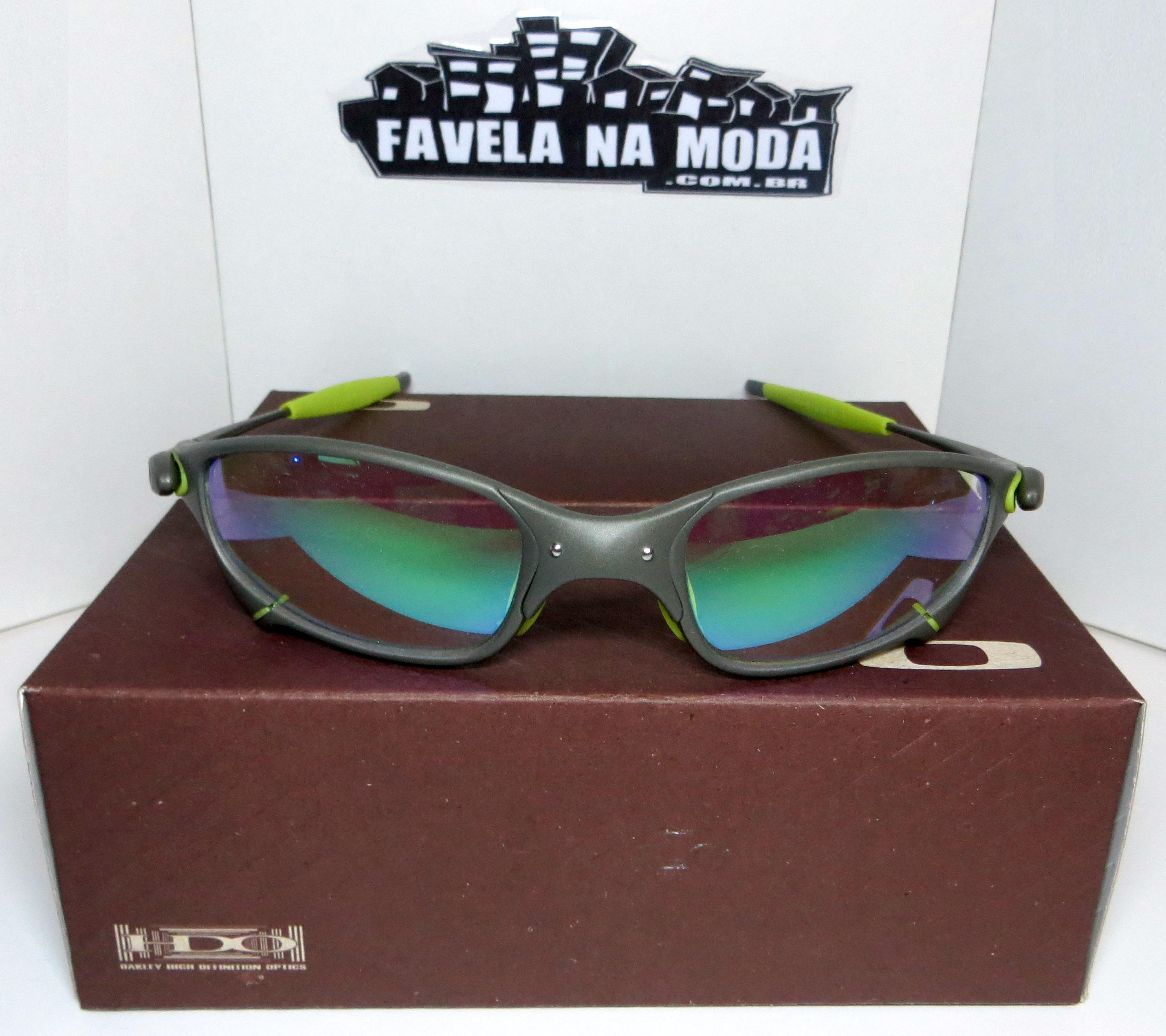 2d308d0a4ee6f Óculos Oakley Juliet - X-Metal   Clear Verde   Borrachinhas Verdes - Favela  na Moda Imports