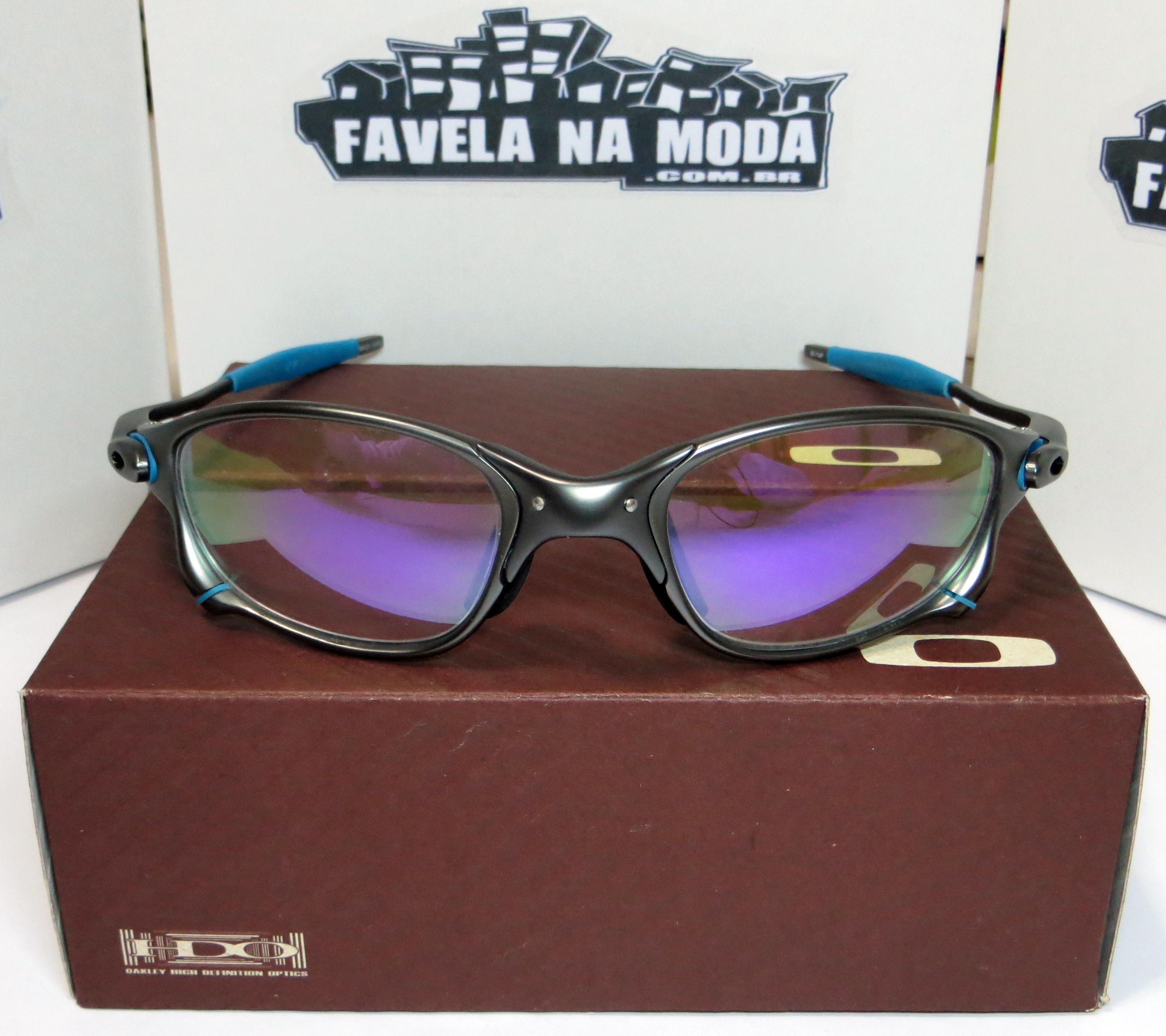 2ff7aac71 Óculos Oakley Double xx - Carbon / Clear Roxa / Borrachinhas Azul Bebê