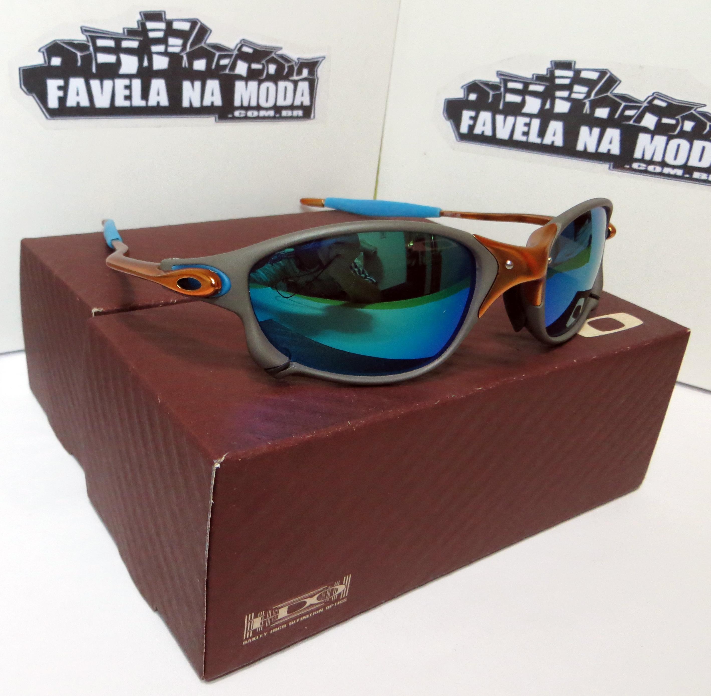 5b8fb03d51fb4 Óculos Oakley Double xx - 24k   Green Jade   Borrachas Azul Bebê - Favela  na Moda Imports